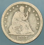 1857 Seated Quarter Good/ AG