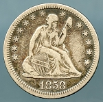 1858 Seated Quarter VF 35