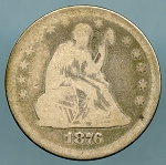 1876 Seated Quarter About Good