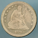 1876 S Seated Quarter About Good