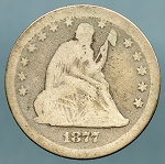 1877 Seated Quarter About Good