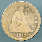 1877 S Seated Quarter Poor