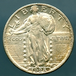 1928 Standing Quarter Choice AU-55