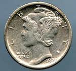 1920 S Mercury Dime XF 45 plus details cleaned