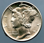 1941 D Mercury Dime MS 63
