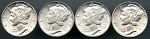 4 piece CH.BU Mercury dime lot 1942-1945  Philadelphia mint