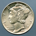 1942 Mercury Dime MS 63