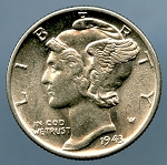 1943 Mercury Dime MS 60