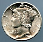 1944 Mercury Dime Choice B.U. MS-63