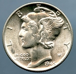 1945 Mercury Dime MS 63 plus