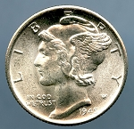 1945 S Mercury Dime MS 63 plus