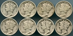 8 piece Mercury Dime lot 1920-1929 Good and better ( no 1921 )