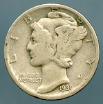 1931 D Mercury Dime Very Good