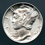 1937 Mercury Dime MS 63