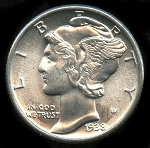 1938 Mercury Dime Choice B.U. MS-65