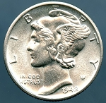 1942 D Mercury Dime MS-63+