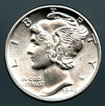1943 Mercury Dime Choice B.U. MS-63