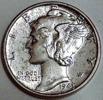 1943 Mercury Dime MS-63