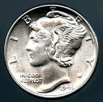 1943 Mercury Dime Choice B.U. MS-64