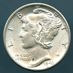 1943 D Mercury Dime B.U. MS-60