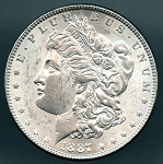 1887 Morgan Dollar AU 50
