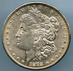 1878 S Morgan Dollar MS 60 small gouge on obverse