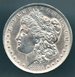 1884 O Morgan Dollar AU details cleaned