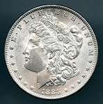 1885 Morgan Dollar AU 58