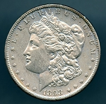 1898 S Morgan Dollar AU 50 plus details cleaned