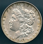 1878 7 T.F. REV of 1878 Morgan Dollar AU-50
