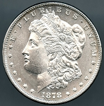 1878 7 TF Rev 79 Morgan Dollar Choice B.U. MS-63