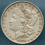 1878 7 TF Morgan Dollar XF-40+