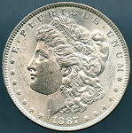 1887 Morgan Dollar AU-58
