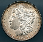 1891 CC Morgan Dollar B.U. MS-62 VAM 3