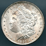 1891 CC Morgan Dollar Choice B.U. MS-63