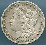 1892 S Morgan Dollar VF-20 Cleaned