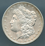 1904 S Morgan Dollar XF-40 cleaned