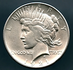 1921 Peace Dollar AU details cleaned with small rim cut on obverse
