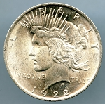 1922 Peace Dollar MS 60