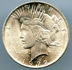 1922 Peace Dollar MS 63