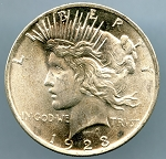 1923 Peace Dollar MS 63 plus