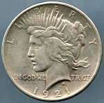 1921 Peace Dollar XF-45