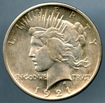 1921 Peace Dollar B.U. MS-60+