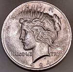 1924 Peace Dollar AU+ Baggy Face