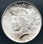 1925 Peace Dollar B.U. MS-60