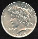 1926 D Peace Dollar MS-63 details cleaned