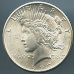 1927 Peace Dollar Choice B.U. MS-64