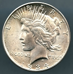 1934 D Peace Dollar Choice B.U. MS-63