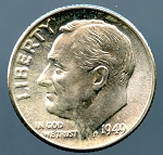 1949 Roosevelt Dime Choice B.U. MS-63