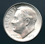 1952 S Roosevelt Dime MS 63 plus